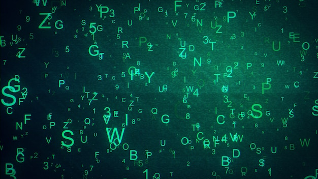 Alphabet letters and numbers randomly thrown in space creating an abstract digital background with noise and distortion