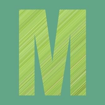 작업에서 디자인을 위한 파스텔 녹색 배경에 녹색 패턴 스타일의 모양 m의 알파벳 문자.