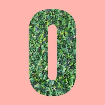 あなたの仕事のデザインのためのパステルピンクの背景に緑の葉のスタイルの形oのアルファベット文字。