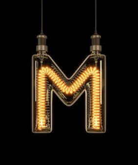 Alphabet m made of light bulb.