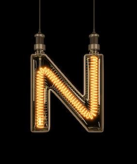 Alphabet n made of light bulb.