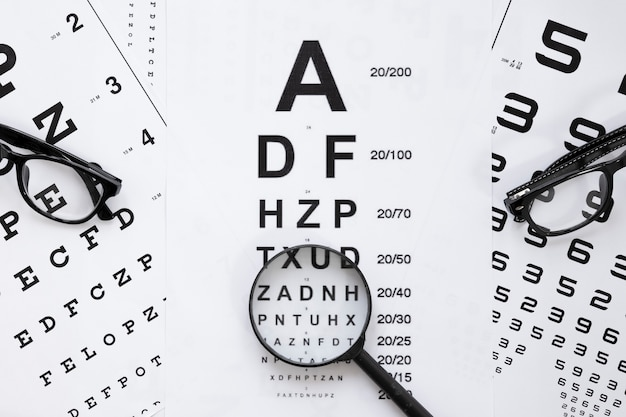 Alphabet and numbers table for optical consultation