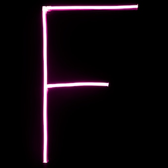 Alphabet pink neon lights on black background