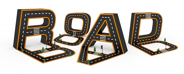 흰색 배경에 도로, 흰색과 노란색 라인 표시의 형태로 인물의 알파벳 기호.