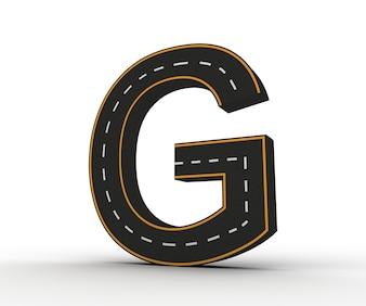 Алфавитные символы рисунков в виде дороги с белой и желтой маркировкой линии