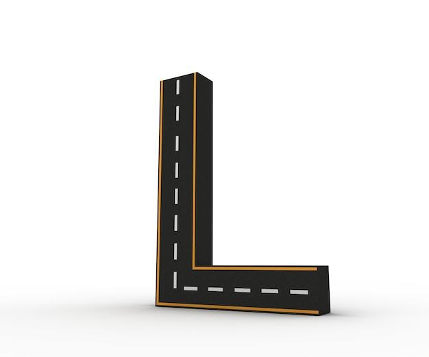 白と黄色の線のマーキングのある道路の形の図のアルファベット記号