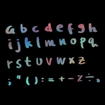 Текст алфавита с черным фоном