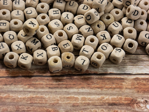 The  alphabets on wood cube for education or communications  concept