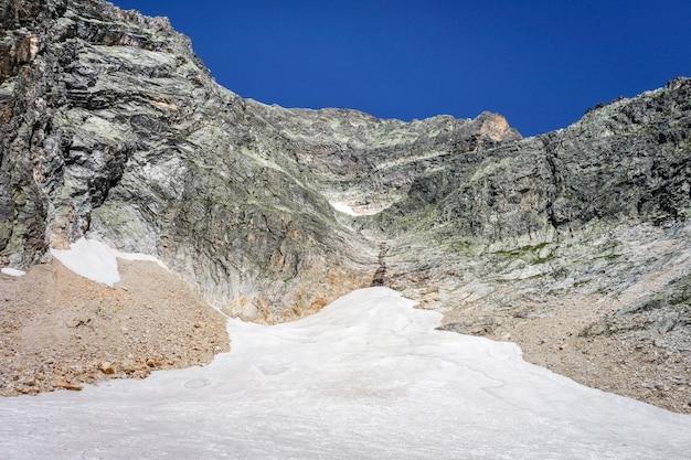 Альпийские ледники и снежный пейзаж невес в пралоньян-ла-вануаз. французские альпы.