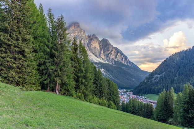 イタリアのドロミテの麓にある高山の牧草地と森