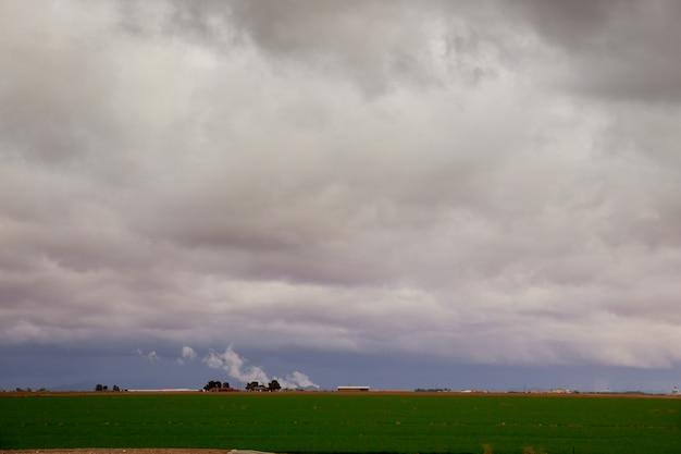 高山草原と山々を背景に