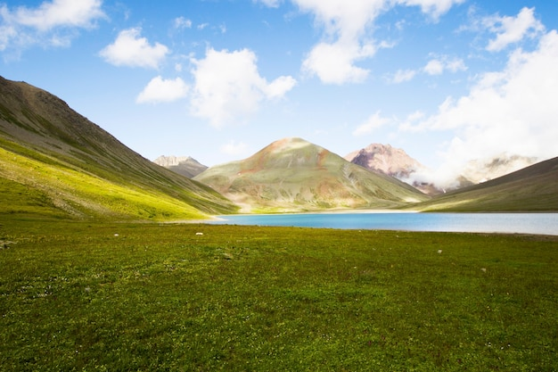 Alpine mountain lake landscape, colorful nature view, georgian lake, travel destination, hiking place.