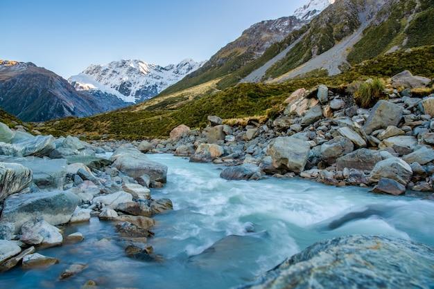 Альпийская горная река, вытекающая из озера в долине хукер