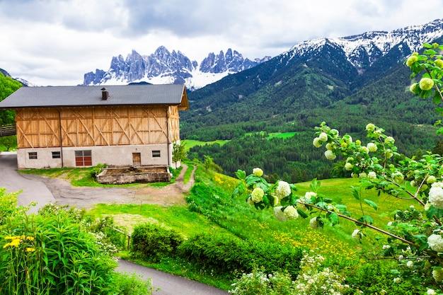 高山の風景、ドロミテ山脈の農家。北イタリアの自然