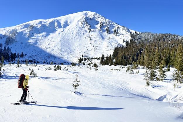 겨울 산에서 알파인 여행 스키입니다. carpathians, 우크라이나.