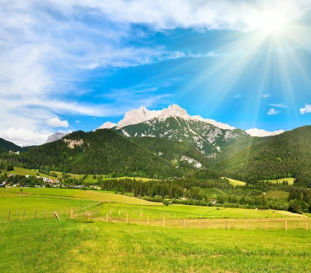 Альпы, горный луг, спокойный летний вид и солнце в небе (австрия, окраина деревни гозау)