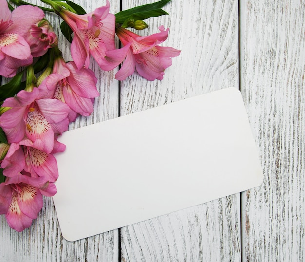 Alstroemeris flowers and card