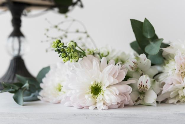 흰색 배경에 대해 alstromeria와 국화 꽃