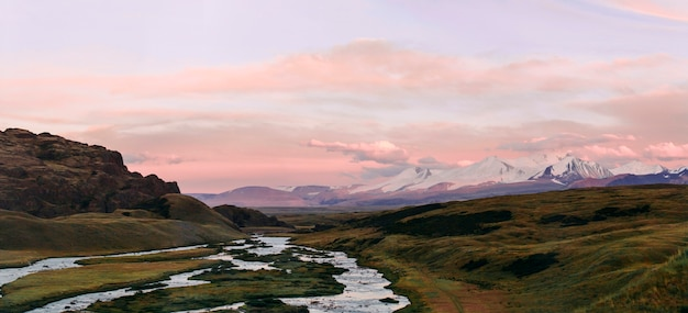 Altai, ukok plateau, beautiful sunset with mountains