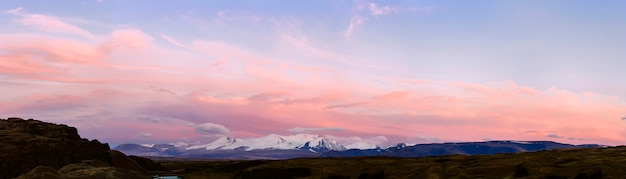 Altai ukok the sunset over the mountains in cloudy cold weather. wild remote places, no one around