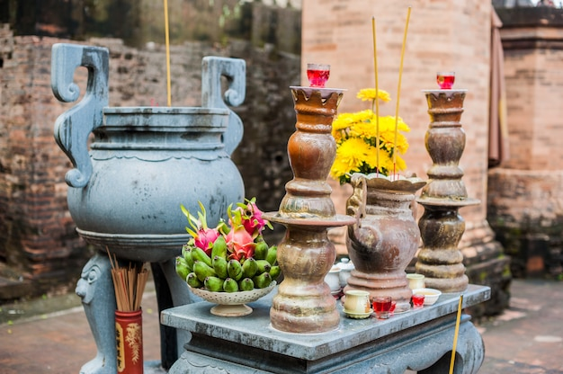 Altar for prayer at a buddhist temple of po nagar cham towers