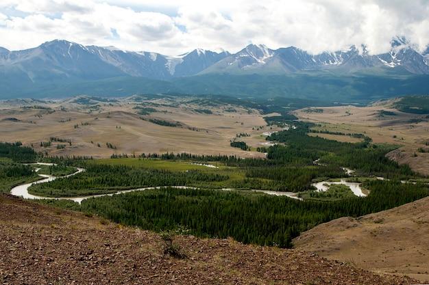 Altay mountains, chuya river and kuray steppe