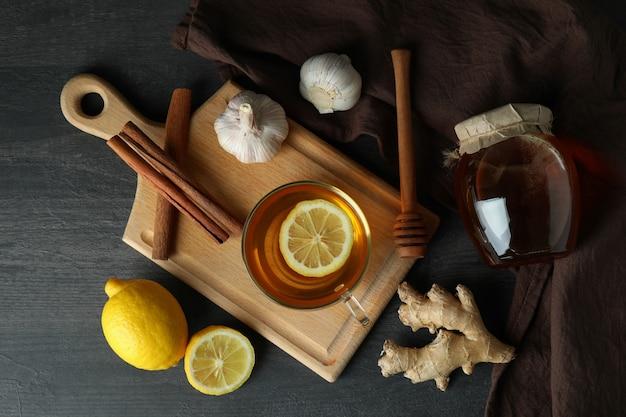Alternative cold treatment on dark wooden table