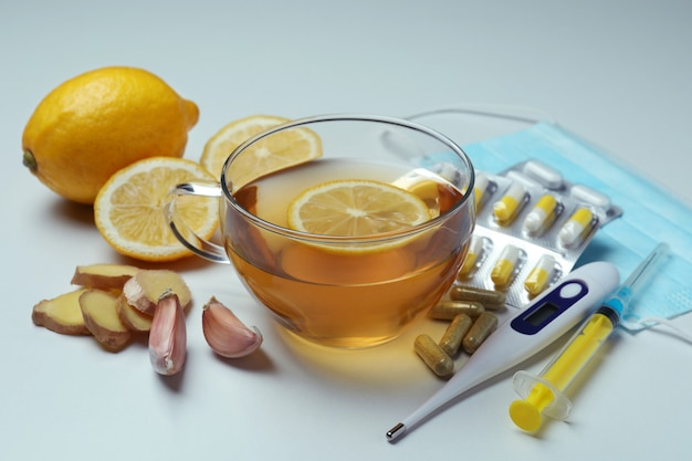Alternative cold treatment with different elements, close up