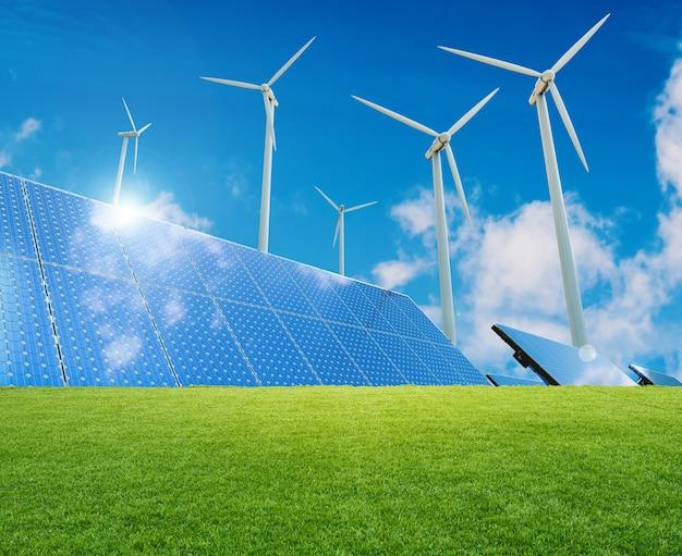 Концепция альтернативной энергии с 3d-рендерингом ветряных турбин и солнечных батарей Premium Фотографии