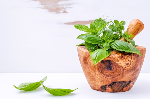 Alternative medicine fresh herbs in the wooden mortar set up on white wooden background