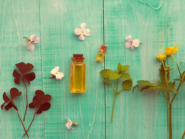 代替医療、錠剤、アロマセラピー、エッセンス、天然オイルの代替としての緑の植物