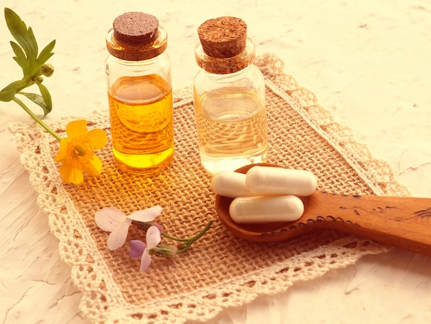 Alternative medicine, green plants as a substitute for tablets, aromatherapy, essences and natural oils
