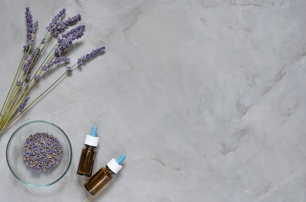 Alternative medicine herbs of lavender and oil on grey background.