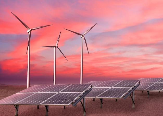 コピースペースのある赤い夕焼けの曇り空を背景に、風力タービンとソーラーパネルによって作られた代替の再生可能エネルギー。生態学的な代替エネルギーの概念。