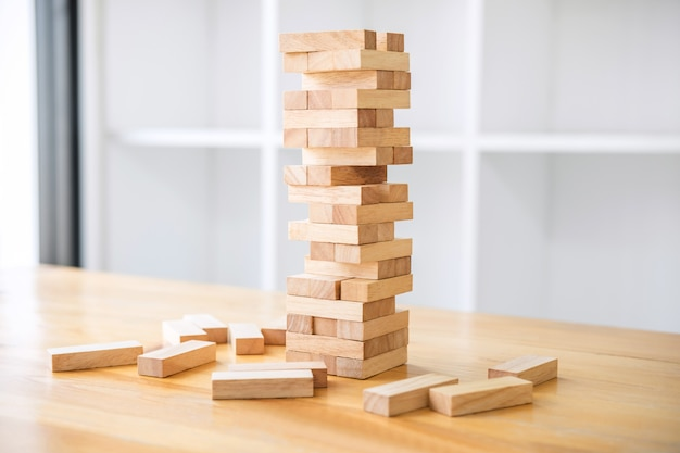 Alternative risk, plan and strategy in business, risk to make business growth with blocks