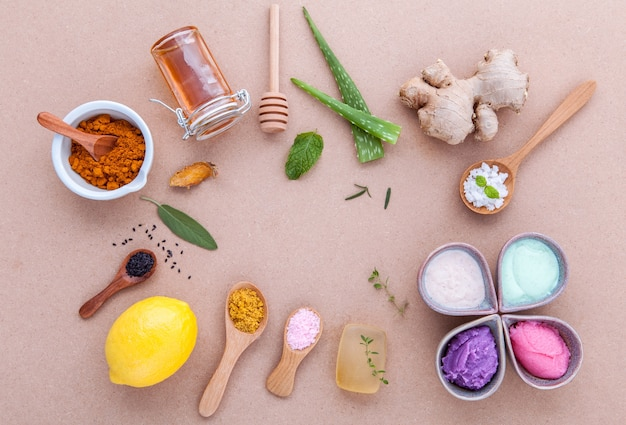 Alternative skin care and homemade scrubs with natural ingredients .