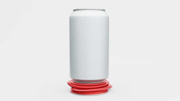 Алюминиевая банка или пакет содовой макет изолирован на белом фоне. , 3d рендеринг