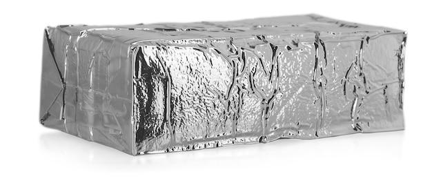 白い背景で隔離のアルミ製バッグ。