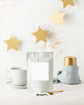 Aluminum bags with black tea with white label for text