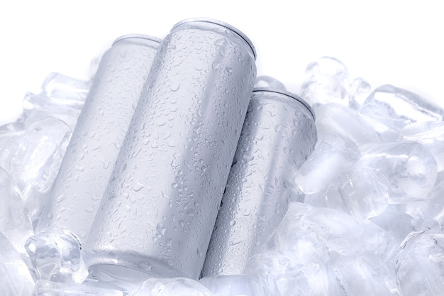 Aluminum beverage drink can on ice isolated on white background