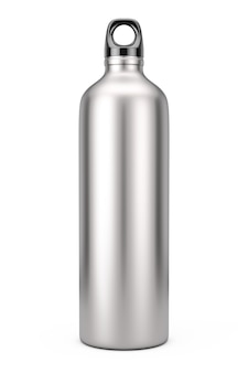 흰색 바탕에 알루미늄 자전거 수상 스포츠 병 모형. 3d 렌더링