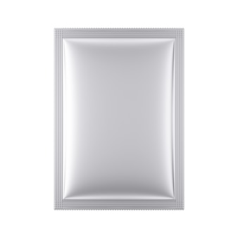Aluminum blank bag package mockup on a white background. 3d rendering