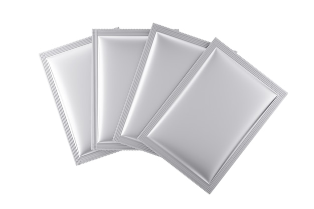 Aluminum blank bag packages mockup on a white background. 3d rendering