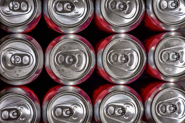 Aluminum cans top view, beer cans closed, many beer aluminum cans