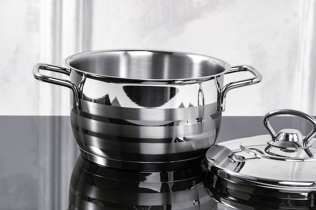 Aluminum cookware pot with cover on electric stove