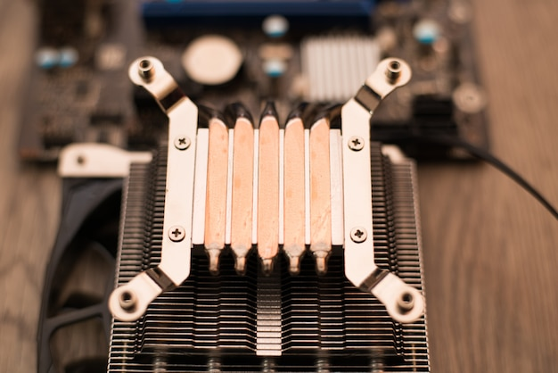 Aluminum cpu cooler heat sink isolated on white