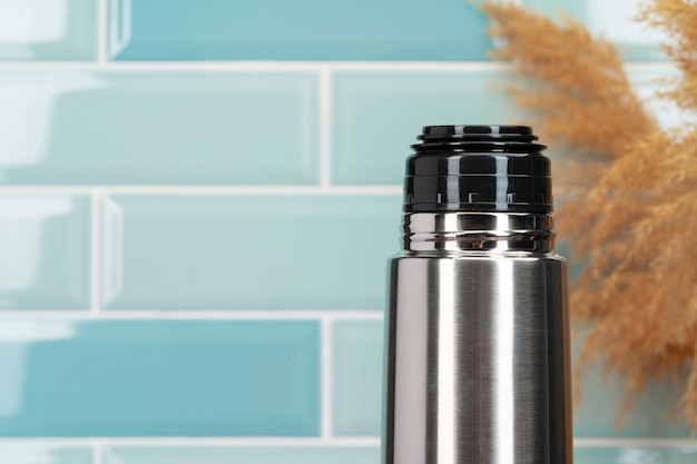 Aluminum metal thermos container bottle close up