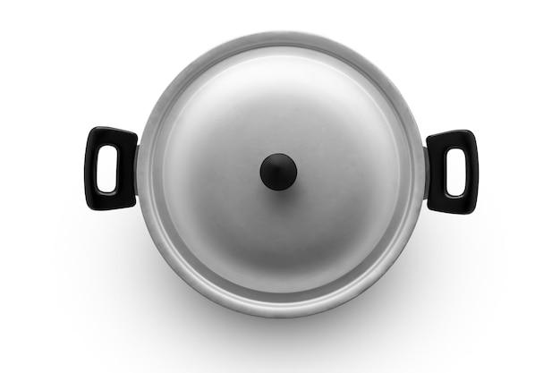 Алюминиевая сковорода на белом фоне, вид сверху