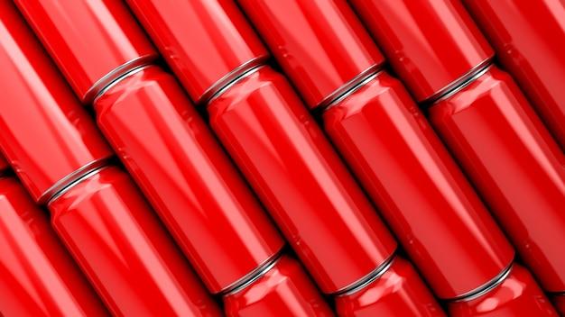 Алюминиевая красная банка газировки 3d-рендеринг