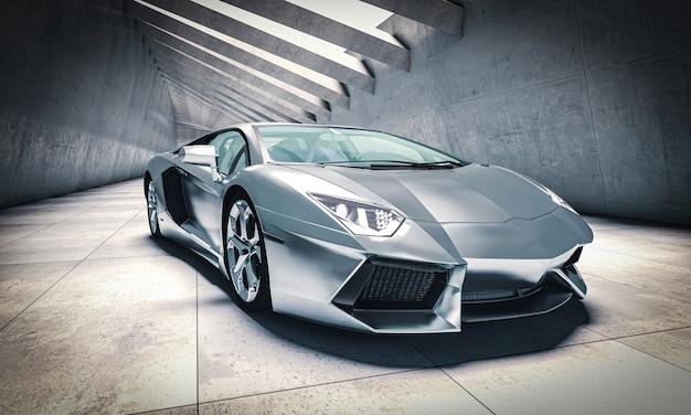 Aluminum sports car in modern concrete tunnel. 3d render